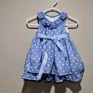 Laura Ashley Chambray Polka Dot Dress 6/9 months